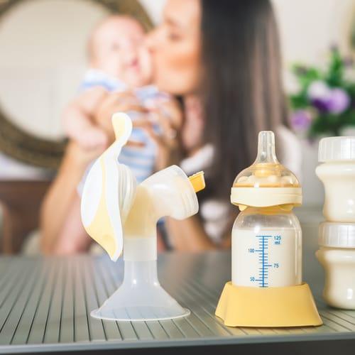 Breast pump and milk bottle
